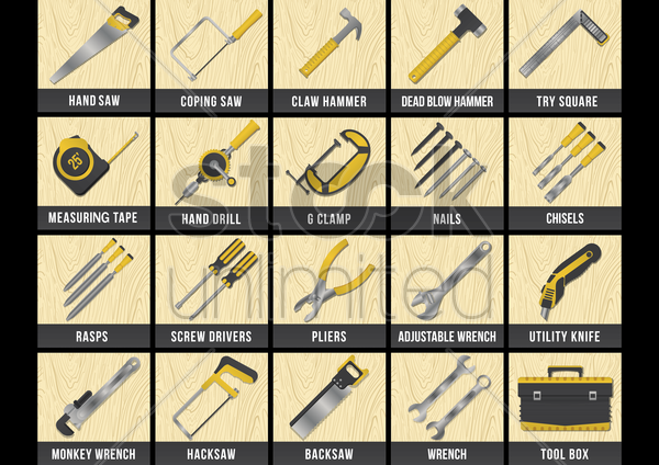 collection of construction tools vector graphic
