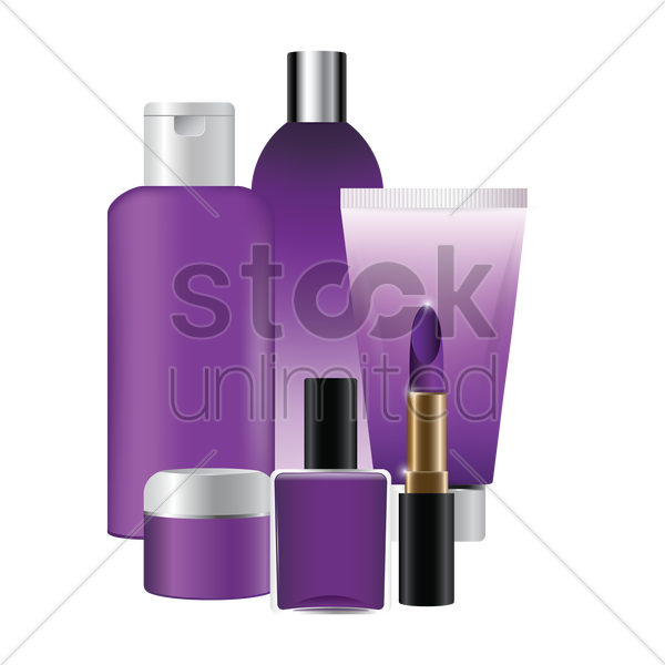 collection of cosmetic items vector graphic
