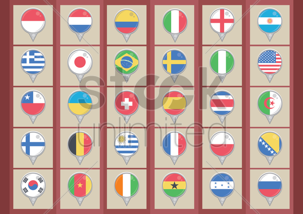 collection of country flags vector graphic