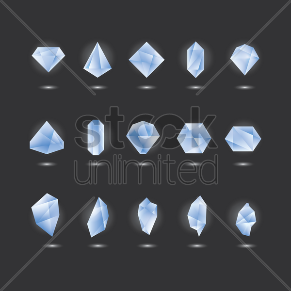 collection of crystals vector graphic
