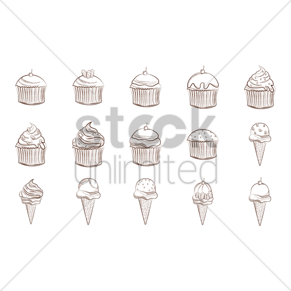 collection of cupcakes and ice cream cones vector graphic