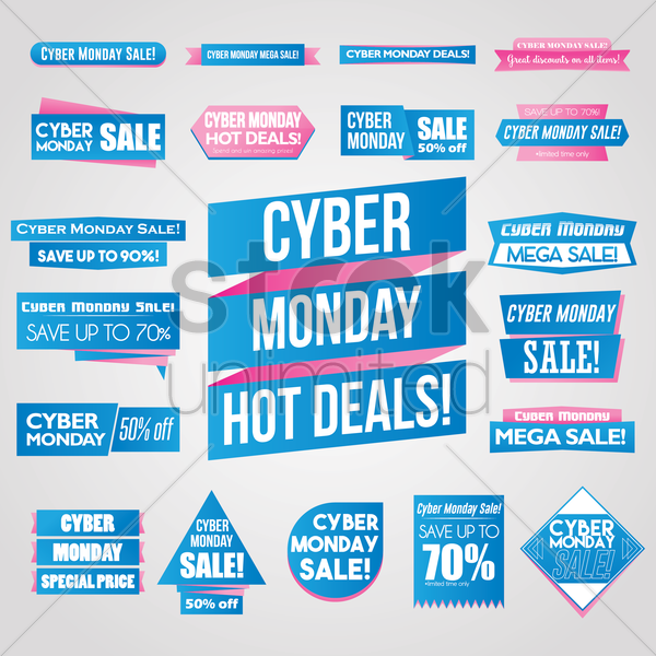 collection of cyber monday banners vector graphic