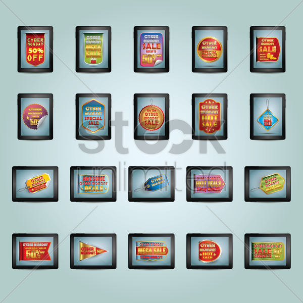 collection of cyber monday designs vector graphic