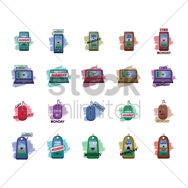 collection of cyber monday icons vector graphic
