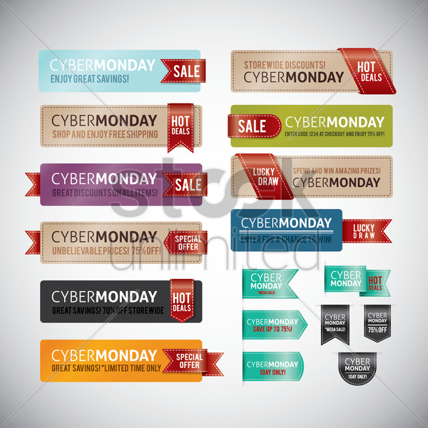 collection of cyber monday sale banners and bookmarks vector graphic