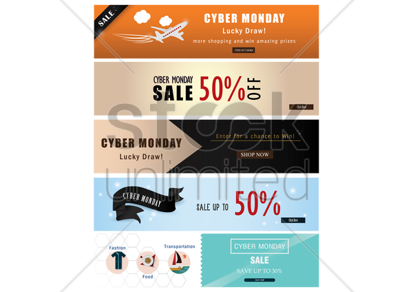 collection of cyber monday sale banners vector graphic