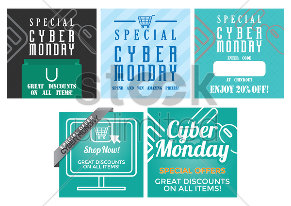 collection of cyber monday sale design vector graphic