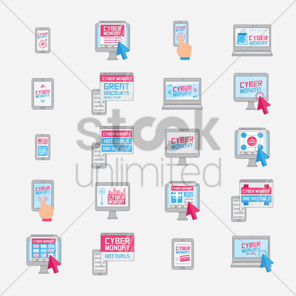 collection of cyber monday sale designs vector graphic