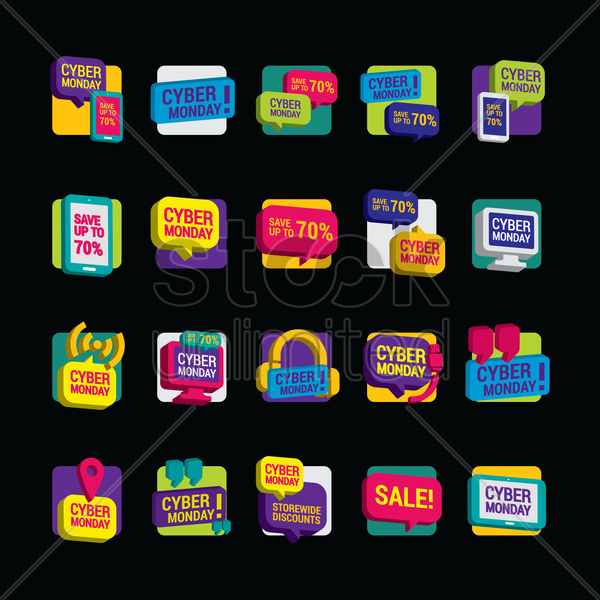 collection of cyber monday sale icons vector graphic