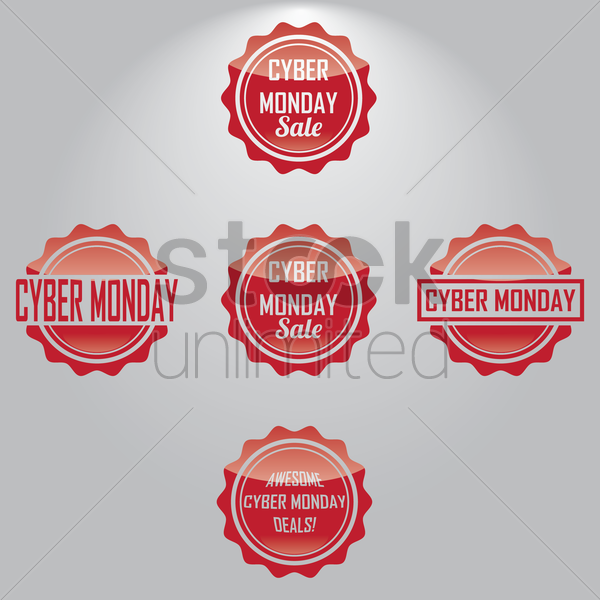 collection of cyber monday sale labels vector graphic