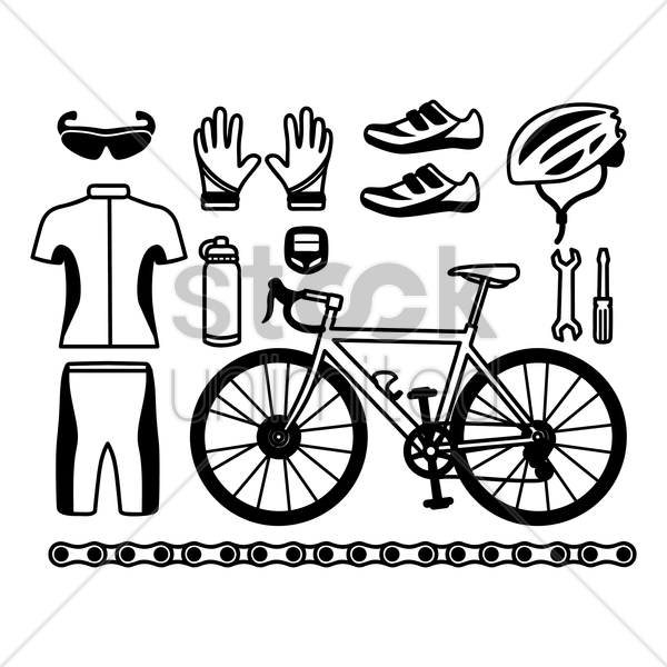 collection of cycling equipment vector graphic