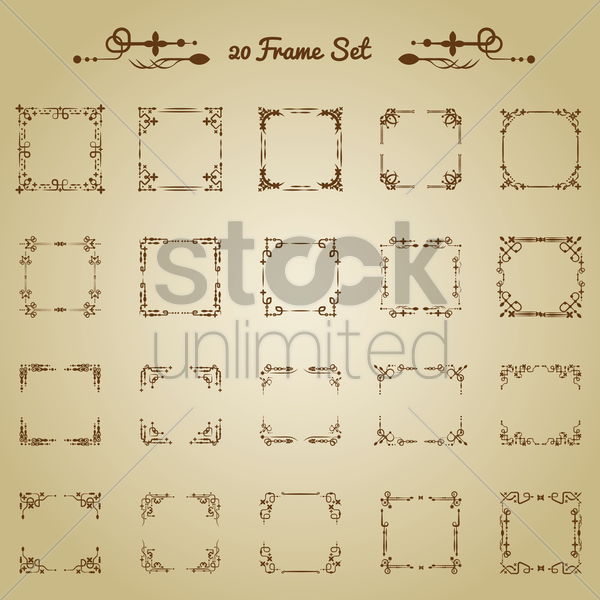 collection of decorative frames vector graphic