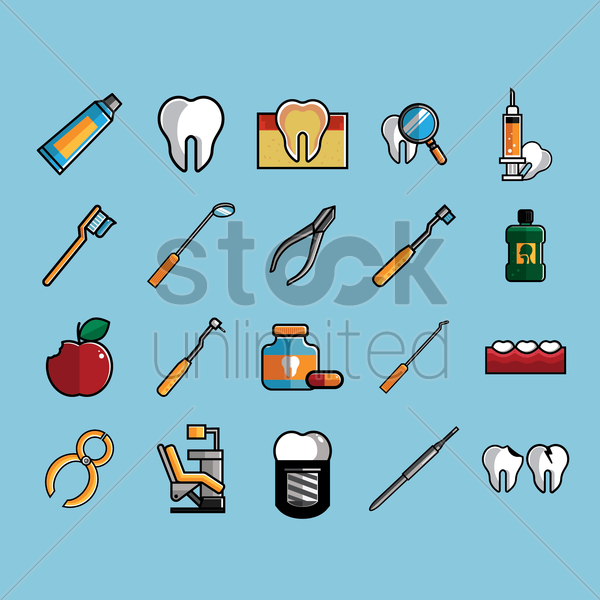 collection of dental equipment vector graphic