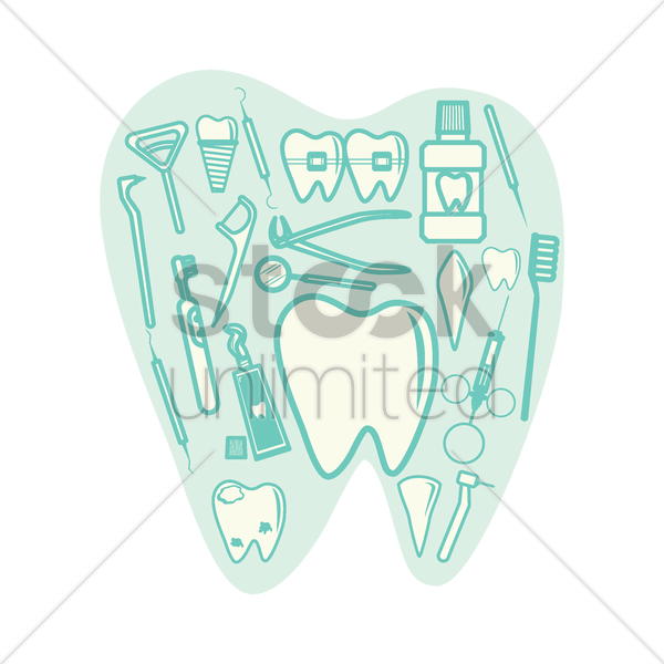 collection of dental icon vector graphic