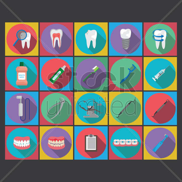 collection of dental icons vector graphic