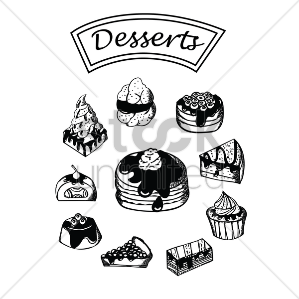 collection of desserts vector graphic