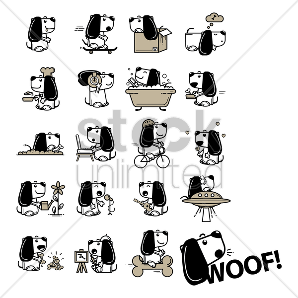 collection of different activities of dog vector graphic
