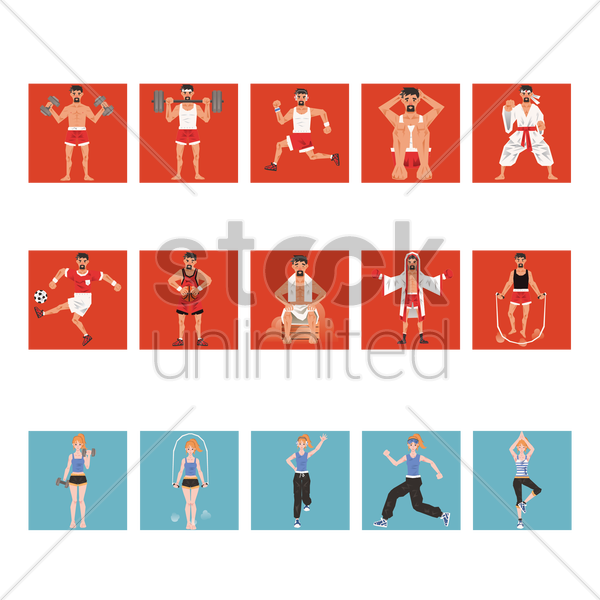 collection of different fitness activities vector graphic