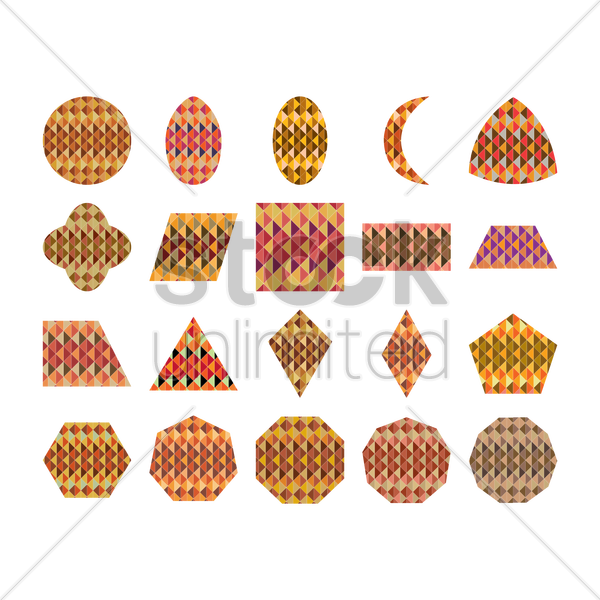 collection of different shapes with geometrical pattern vector graphic