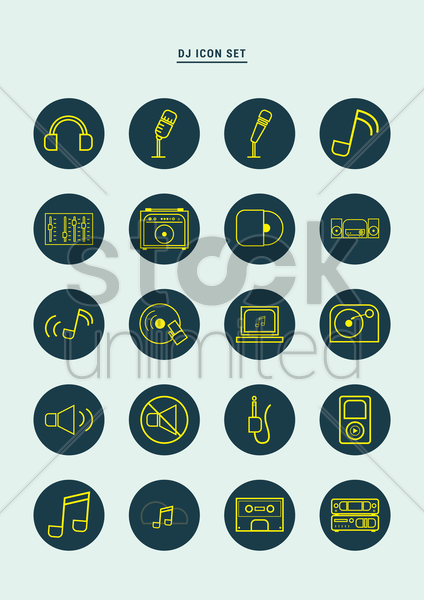 collection of dj icons vector graphic