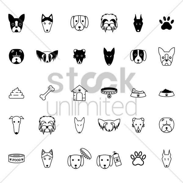 collection of dog icons vector graphic