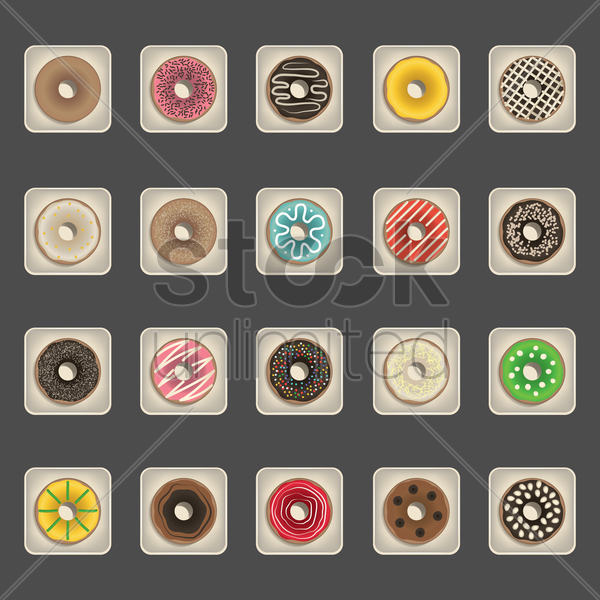 collection of donuts vector graphic