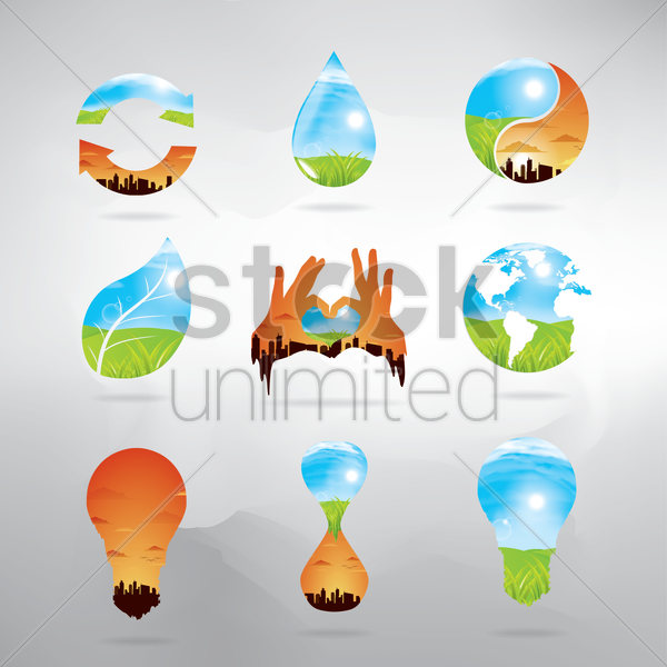 collection of double exposure icons vector graphic