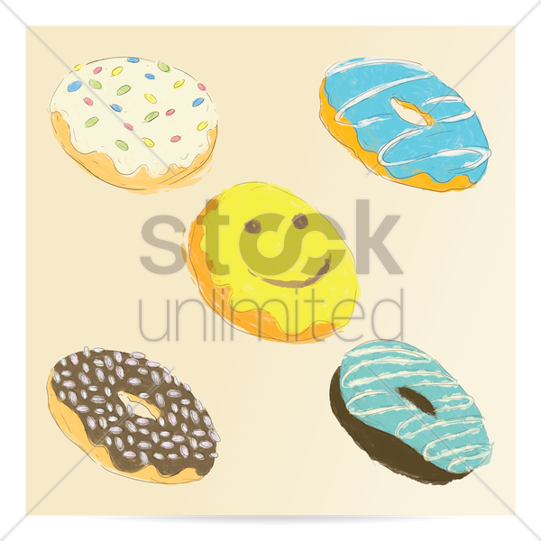 collection of doughnuts vector graphic