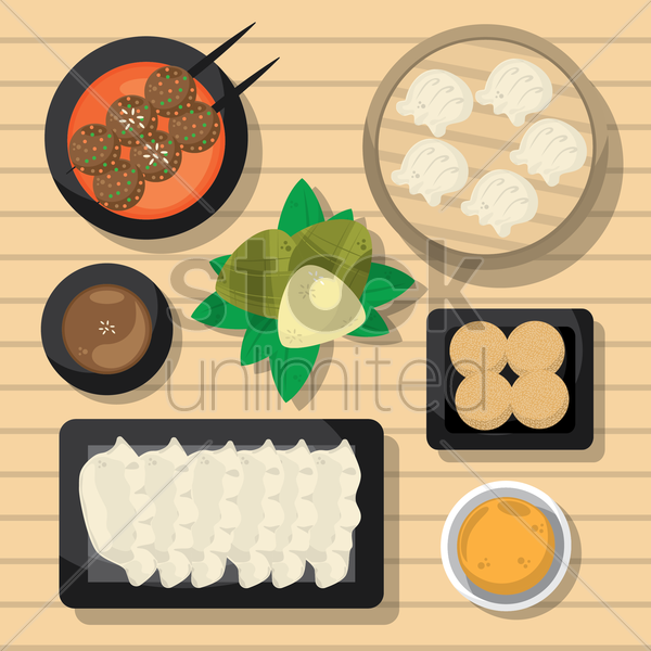 collection of dumplings vector graphic