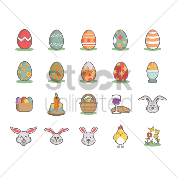 collection of easter eggs vector graphic