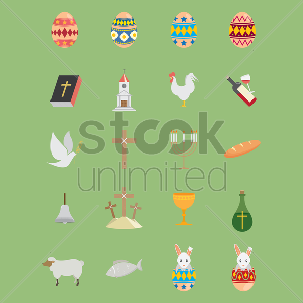 collection of easter icons vector graphic