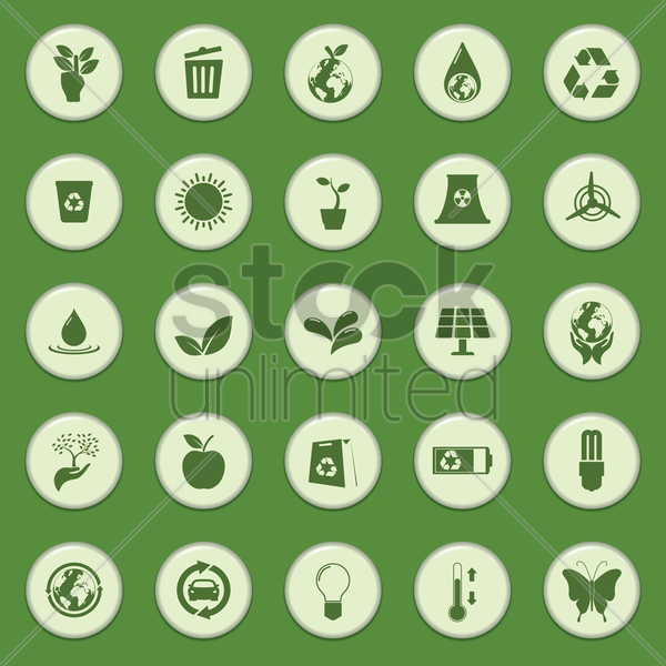 collection of eco icons vector graphic