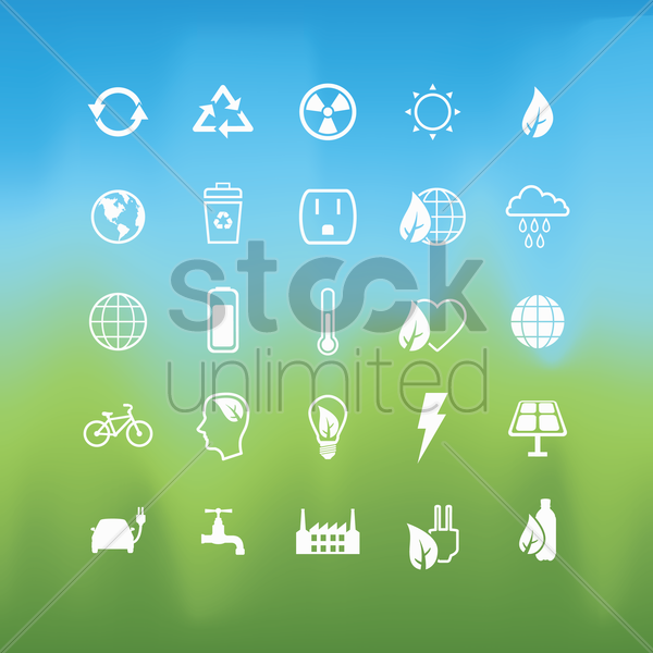 collection of ecology icons vector graphic