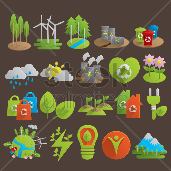 collection of ecology related objects vector graphic
