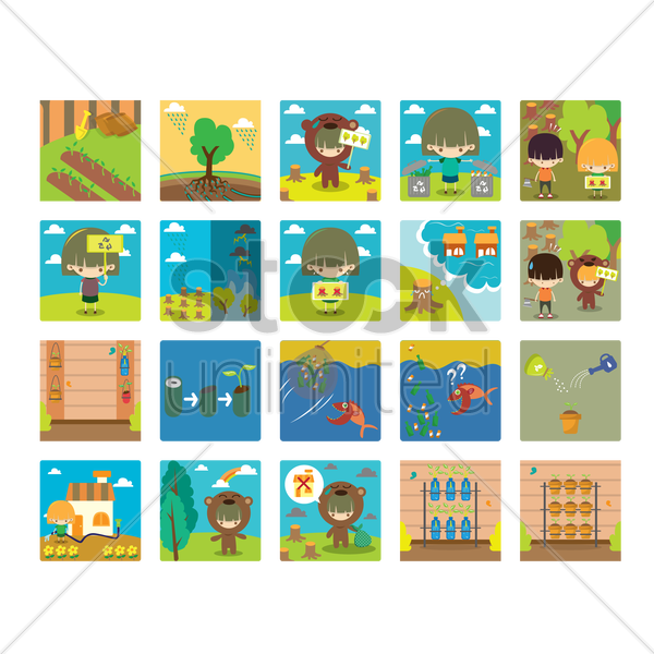 collection of ecology vector graphic