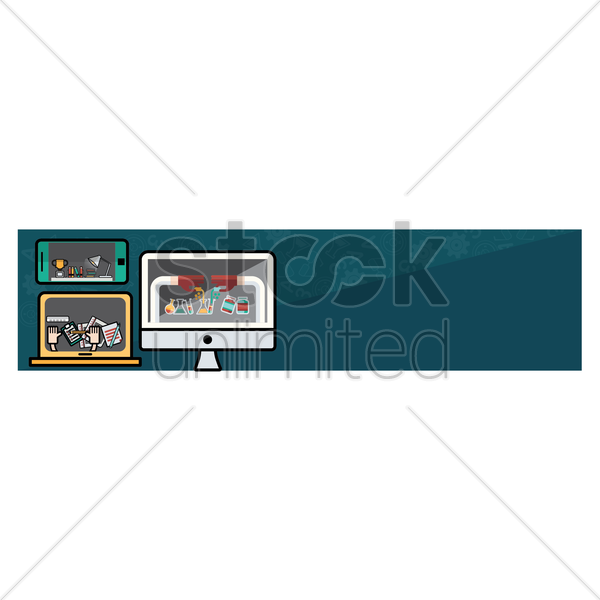 collection of education banner vector graphic