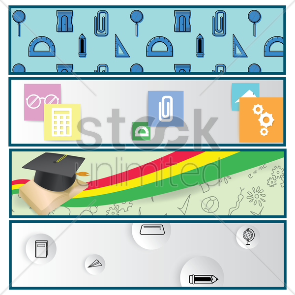 collection of education banners vector graphic