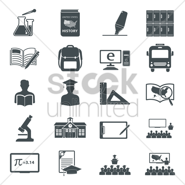 collection of education icons vector graphic