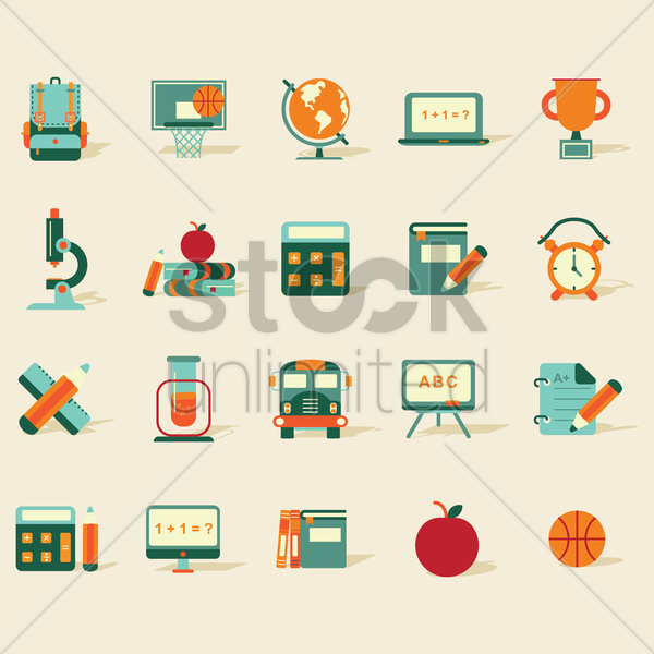 Free collection of education icons vector graphic