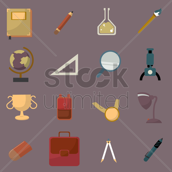 collection of education related items vector graphic