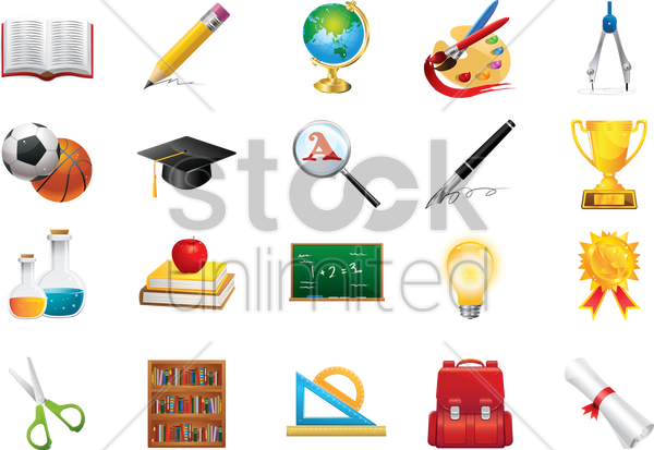 collection of educational icons vector graphic