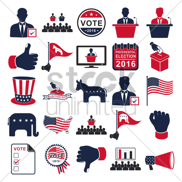 collection of election icons vector graphic