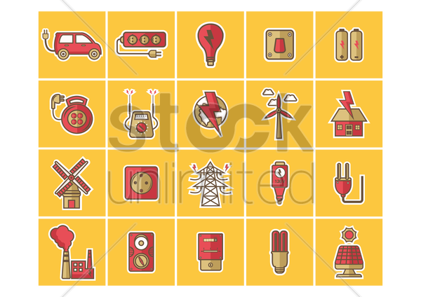 collection of electrical equipments vector graphic