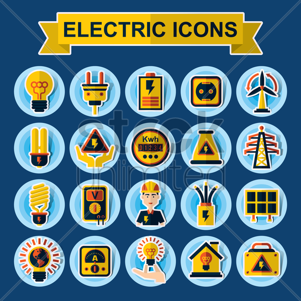 collection of electrical icons vector graphic