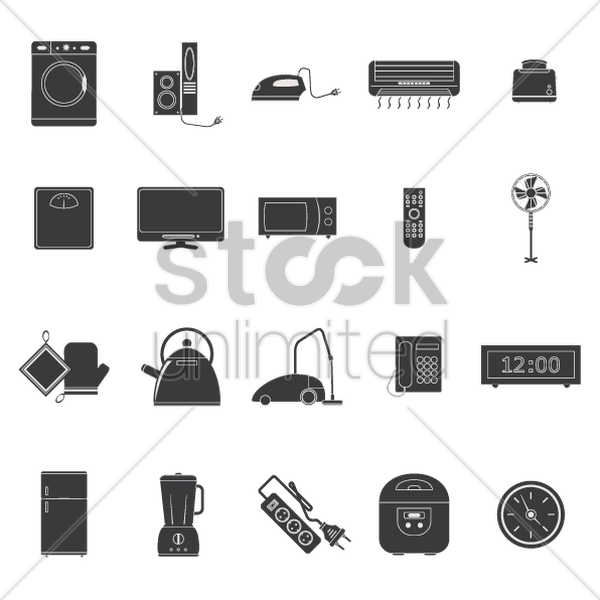 collection of electronic appliances vector graphic
