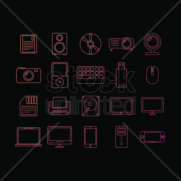collection of electronic devices vector graphic