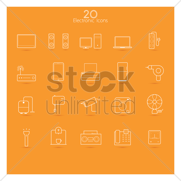 collection of electronic icons vector graphic