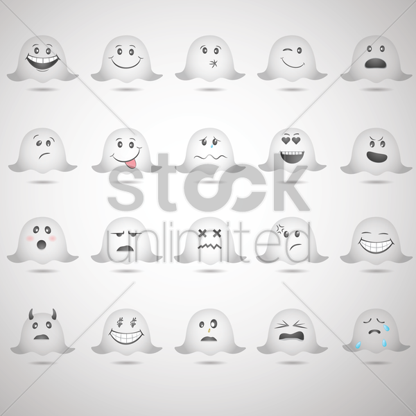 collection of emoticons vector graphic