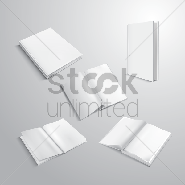 collection of empty books vector graphic