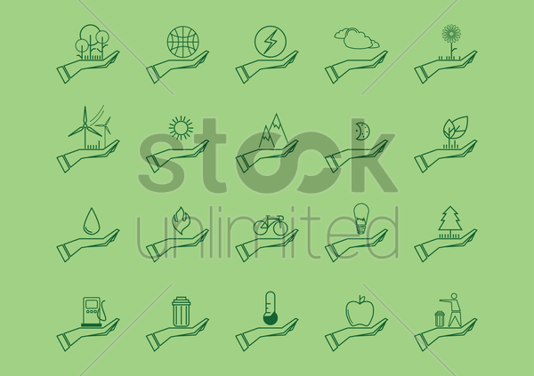 collection of environment protection icons vector graphic